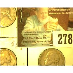 1941 P, D, & S Jefferson Nickel. Circulated.
