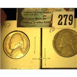 1942 P & D Jefferson Nickel. Circulated.
