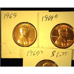1969 P, D, & S Red Uncirculated Lincoln Cents.