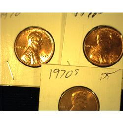 1970 P, D, & S Red Uncirculated Lincoln Cents.
