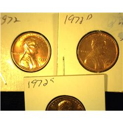 1972 P, D, & S Red Uncirculated Lincoln Cents.