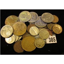 (8) Cents, (1) Nickel, (8) Dimes, (8) Quarters, & (3) Dollars, all from Canada. Some of the Dimes ar