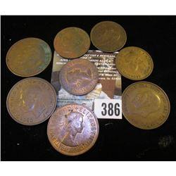 (4) Great Britain Half Pennies & (4) Large Pennies.