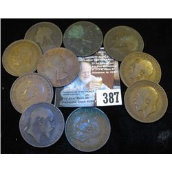(10) Great Britain Large Pennies dating back to 1897.