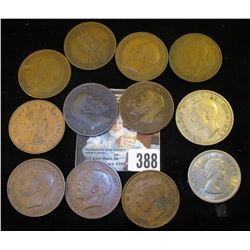(9) Great Britain Large Pennies dating back to 1902, 1967 Two Shilling, 1948 Half Crown & a 1924 Aus