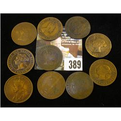 (9) Canada Large Cents dating back to 1888 & 1856 France Five Centimes.