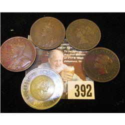 1881H, 1886, 1912, & 1917 Canada Large Cents; & 1997 Canada Polar Bear $2 coin.