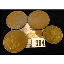 1930 Australia Half Penny; 1929, 35, & 36 Australia Large Pennies.