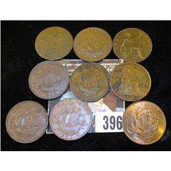1875, 1917, 1920,  (2) 1942, 49, 59, & (2) 67 Great Britain Half Pennies.