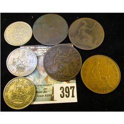 1876H, 1878, 1890, & 1929 Great Britain Large Pennies; 1948, 50, & 60 Great Britain Shillings.