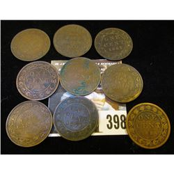 1859, 1876, 1884, 1887, 1907, 1911, 1916, 1918, & 1920 Canada Large Cents.