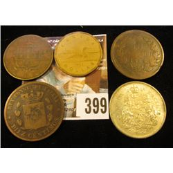1945 Jamaica One Penny; 1878 Spain 10c; 1866 Italy 10c; 1964 Canada Silver Half Dollar; & 1989 Canad