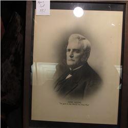 "Framed Print ""John Deer ""He gave to the World the Steel Plow"", 11"" 14""."