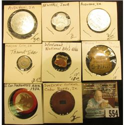 """Group of Tokens and badges, includes Melvin Purvis Junior G-Man Corps (pin missing); """"Woolwear Natio"""