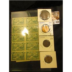 Block of 5 & Block of 10 Alabama Stamp Tax 100 Pound Stamps, Mint Condition.& a Four-Piece Type Set