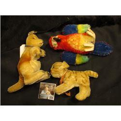 """Vintage Steiff Parrot """"Lora""""; Stieff Kitten; & Steiff Kangaroo. 1962-1976 - Mohair. 'Doc' valued thi"""
