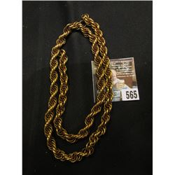 """24"""" Heavy braided Chain, Not solid Gold, may not even be Gold-filled, but it is quite old."""