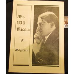 """""""Mr. Wil Nicola Magician"""" Fold out Brochure, mint condition. Originally from Monmouth, Illinois."""