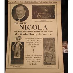 """Large four fold """"The Great Nicola The Most Delightful Mystic of All Times The wonder Show of the Uni"""