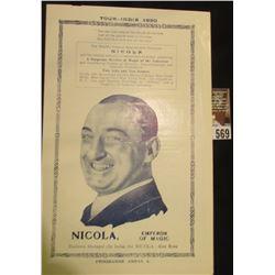"""Tour-India 1930 Nicola, Emperor of Magic"" Home was Monmouth, Illinois, Brochure."