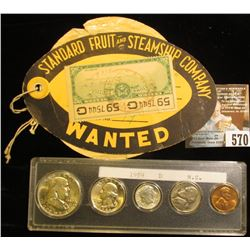 """Label with string attached """"Standard Fruit and Steamship Company Wanted"""", """"Vaccaro Line"""", 1952 U.S."""