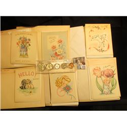 Large group of 1950 era Greeting Cards, unused; and an Uncirculated 1952 Set of U.S. Coins, Cent to