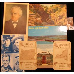 """""""A Western Sheriff"""" Post Card; """"The Narrows Williams Canon, Colorado"""" Post card; """"Lewis and Clark La"""