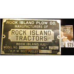 "Aluminum Model No. Plate for ""Rock Island Plow Co. Manufacturers of Rock Island Tractors Rock Island"