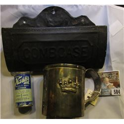 """Antigue Metal Comb Case, 7 1/8"""" x 2"""" x 4 1/8""""; small antique can of """"Nash's Prickly Heat Powder""""; &"""