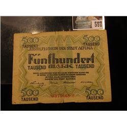 October 8, 1922 German 500,000 Mark Banknote.