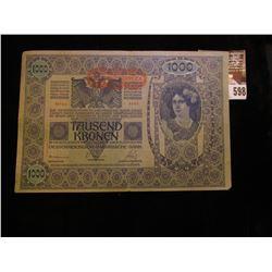 January 2, 1902 Austria One Thousand Kronen Bank Note.