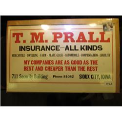"1932 era Calendar Top sign ""T.M. Prall/Insurance--All Kinds/Mercantile-Dwelling-Farm-Plate Glass-Aut"