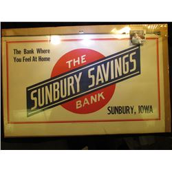"1930 era Calendar Top Sign ""The Bank Where You Feel At Home The Sunbury Savings Bank Sunbury, Iowa"","