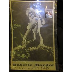 "Autographed black & White Poster ""Babette Bardot To Doc Love Babette"". 11"" x 17"". Totally Nude, but"
