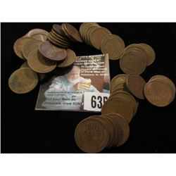 1919 S Solid date Roll of circulated Lincoln Cents. (50 pcs.)