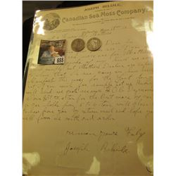 Joseph Belisle Manager of the Canadian Sea Moss Company  1897 letter on letter head; & 1927 P & 28