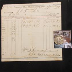 Winterset, Madison County, Iowa Dec. 18, 1869 Property Tax Receipt and 1927 Standing Liberty Quarter