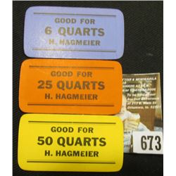 "A Trio of (Keokuk, Iowa) Strawberry Pickers Tokens ""Good For 6 Quarts H.Hagmeier"", ""Good For 25 Quar"