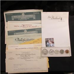 "(5) pieces of Stationery ""Hotel Blackhawk Cedar Falls, Iowa""; (20) Cedar Falls & Waterloo, Iowa Invo"