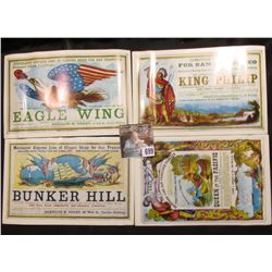 """Eagle Wing"", ""Bunker Hill"", ""Queen of the Pacific"" & ""King Philip"" Advertising cards."