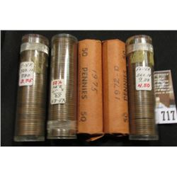 1941D, 42S, 48D, 72D, & 75 Solid Date Rolls of Lincoln Cents, some in plastic tubes.