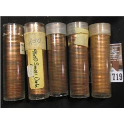 1960 D SD, 59D, 62D, 68D, & 85D BU Rolls of Lincoln Cents in plastic tubes.