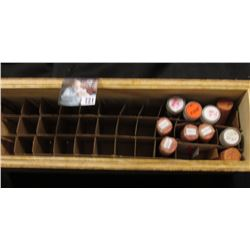 Wooden Roll box with (50) Memorial Cents & over (425) Wheat Cents.