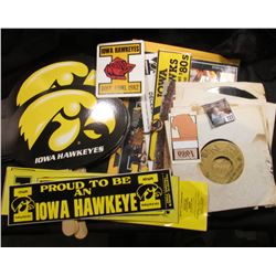 "(7) Like new Iowa Hawkeye fans with Econo Foods advertisements; ""Iowa The Hawkeye State"" Elongated c"