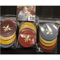 (3) Groups of Five Different color Poker Chips with Fleur-de-lis design.