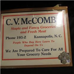 "Sign ""C.V. McCombs Staple and Fancy Groceries and Fresh Meat Phone 193-Z Kannapolis, N.C. People Who"