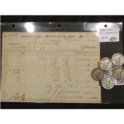 April 16, 1874 Treasuer's Office, Madison County, Iowa No. 2420 Winterset Tax Receipt; 1926P, 27P, 2