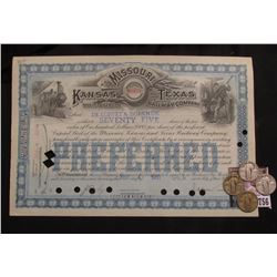 Feb 4, 1911 Seventy-Five Shares Kansas Missouri and Texas Railway Company Preferred Stock Certificat