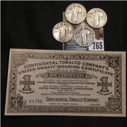 "Circa 1915 ""Continental Tobacco Company's United Profit-Sharing Certificate""; 1928 S, 29 P, D, & S U"