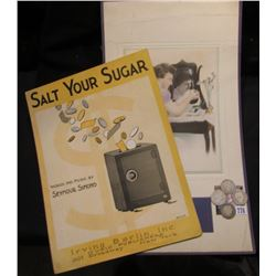 "Antique Calendar Mat (missing calendar); ""Salt Your Sugar"" Sheet Music; 1896 P G-AG, 1898 P Good, 19"